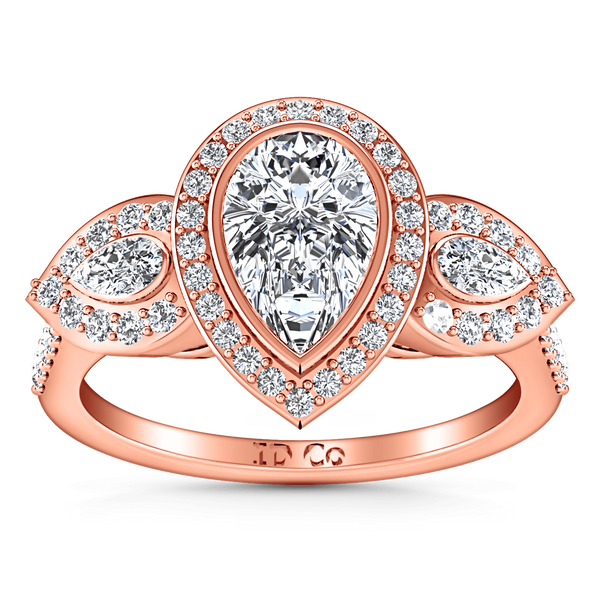 Three Stone Diamond EngagementRing Vanessa 14K Rose Gold