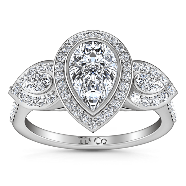 Three Stone Engagement Ring Vanessa 14K White Gold