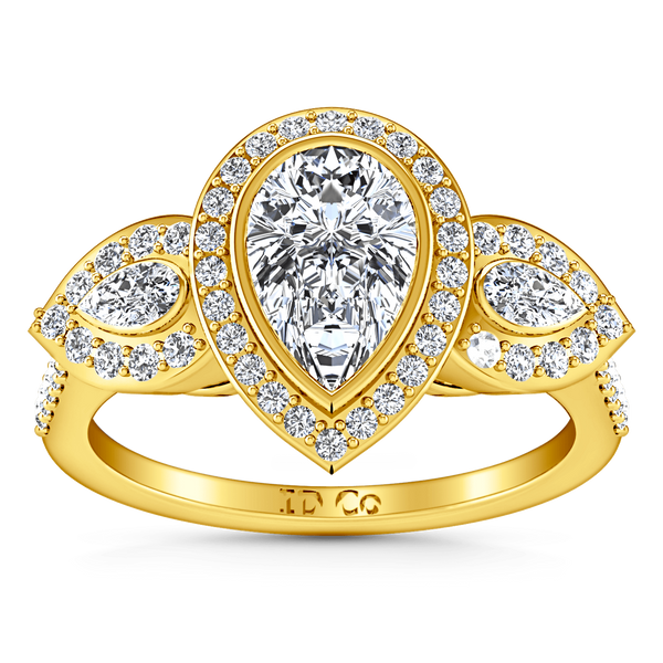Three Stone Diamond Engagement Ring Vanessa 14K Yellow Gold