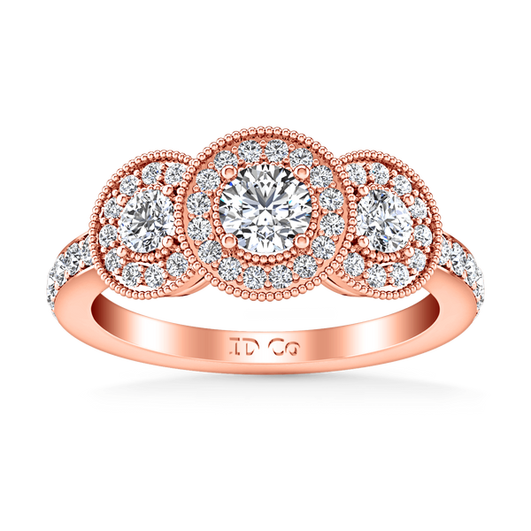 Three Stone Diamond EngagementRing Giselle 14K Rose Gold