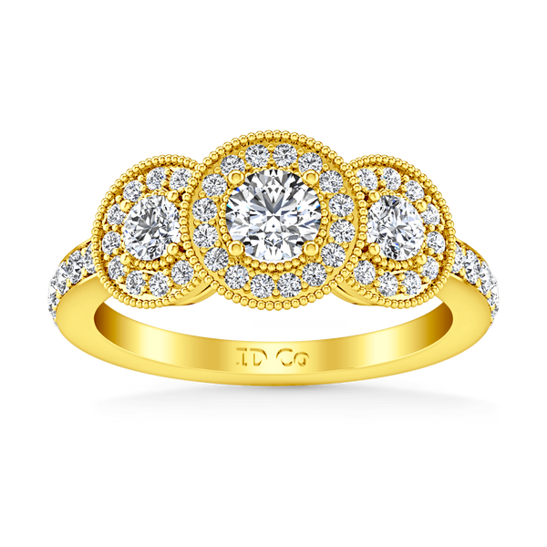 Three Stone Diamond Engagement Ring Giselle 14K Yellow Gold