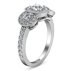 Round Diamond Three Stone Engagement Ring Giselle 14K White Gold engagement rings imaginediamonds