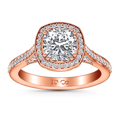 Halo Diamond Cushion Cut Engagement Ring Coco 14K Rose Gold