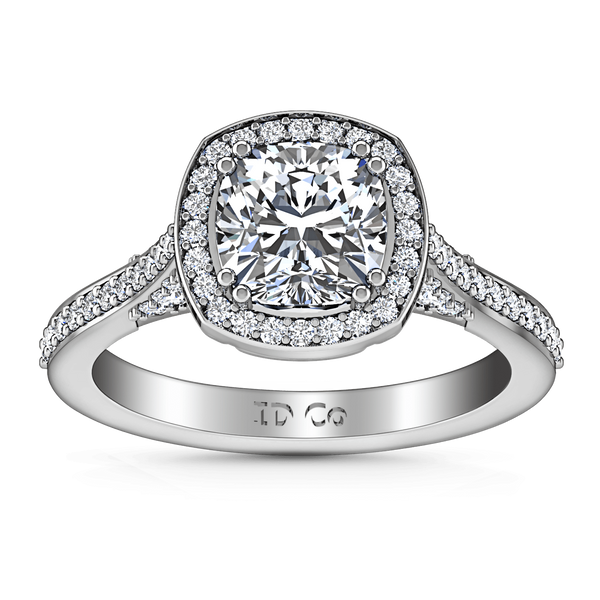 Halo Cushion Cut Diamond Engagement Ring Coco 14K White Gold