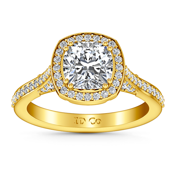 Halo Diamond Cushion Cut Engagement Ring Coco 14K Yellow Gold
