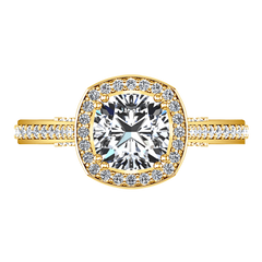 Halo Diamond Cushion Cut Engagement Ring Coco 14K Yellow Gold engagement rings imaginediamonds