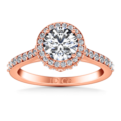 Halo Diamond Engagement Ring Milana 14K Rose Gold engagement rings imaginediamonds