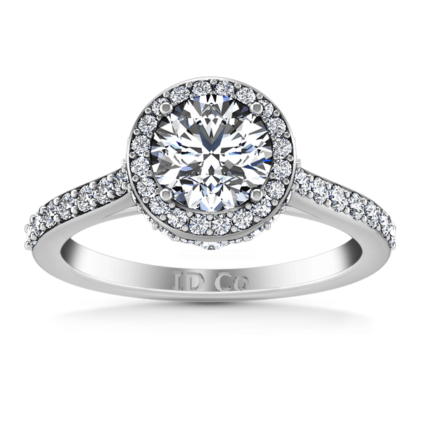 Round Diamond Halo Engagement Ring Milana 14K White Gold