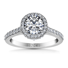Round Diamond Halo Engagement Ring Milana 14K White Gold engagement rings imaginediamonds