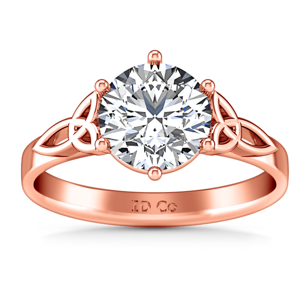 Solitaire Diamond Engagement Ring Fiona Celtic Knot 14K Rose Gold
