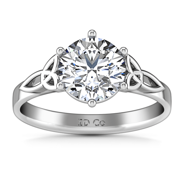 Round Diamond Solitaire Engagement Ring Fiona Celtic Knot 14K White Gold
