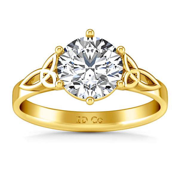 Solitaire Diamond Engagement Ring Fiona Celtic Knot 14K Yellow Gold