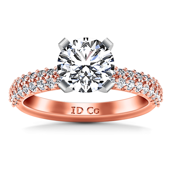 Pave Diamond Engagement Ring Gardenia 14K Rose Gold