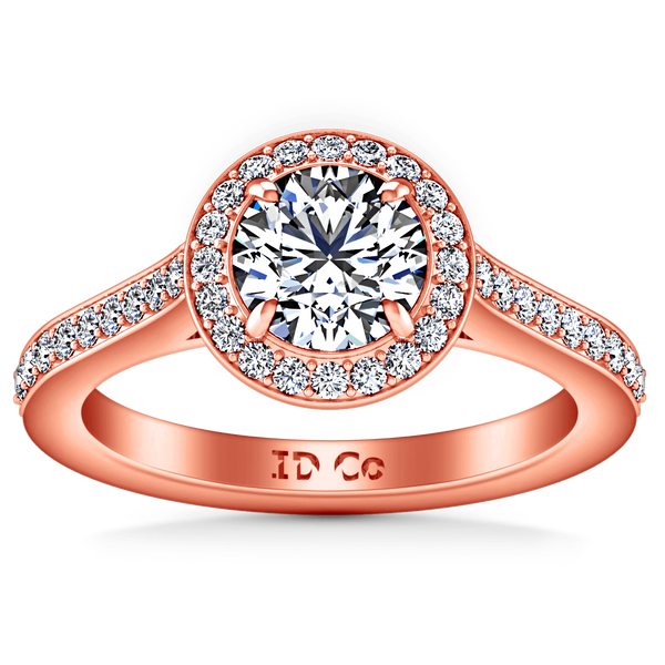 Halo Diamond Engagement Ring Violet 14K Rose Gold