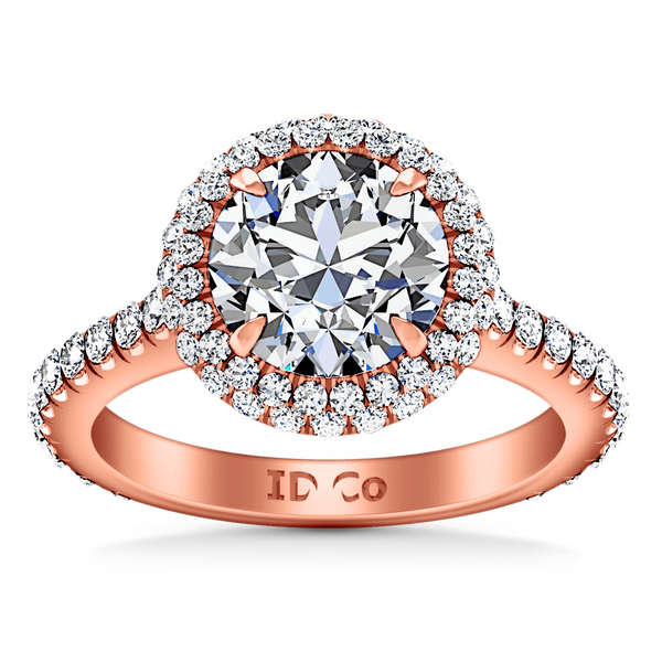 Halo Diamond  Engagement Ring Blossom 14K Rose Gold