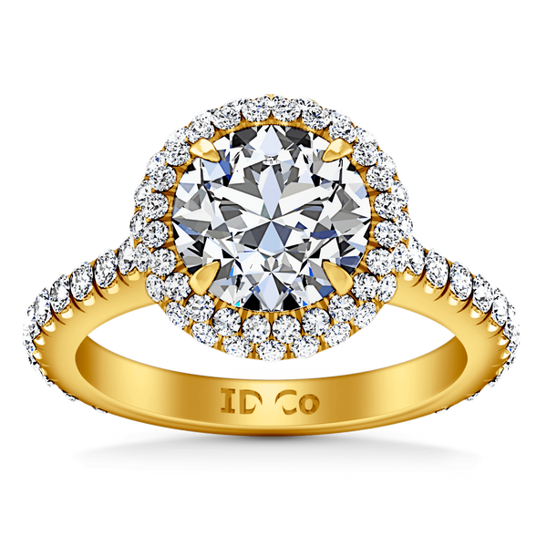 Halo Diamond  Engagement Ring Blossom 14K Yellow Gold