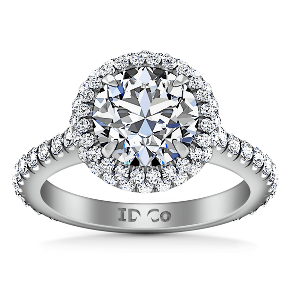 Round Diamond Halo  Engagement Ring Blossom 14K White Gold