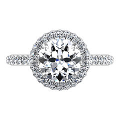 Round Diamond Halo Engagement Ring Blossom 14K White Gold engagement rings imaginediamonds