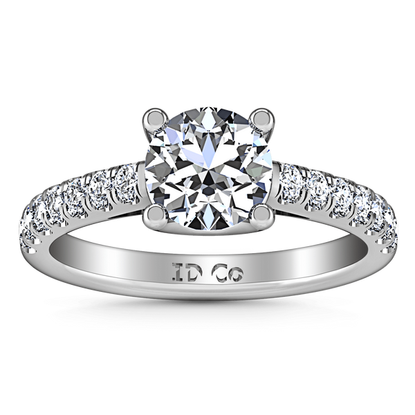 Round Diamond Pave Engagement Ring Zoe 14K White Gold