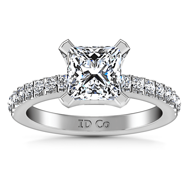 Pave Princess Cut Diamond Engagement Ring Prima 14K White Gold