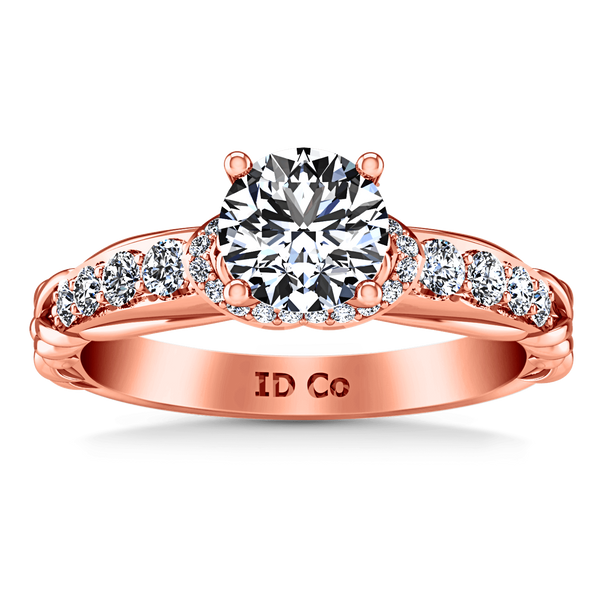 Pave Diamond Engagement Ring Flora 14K Rose Gold