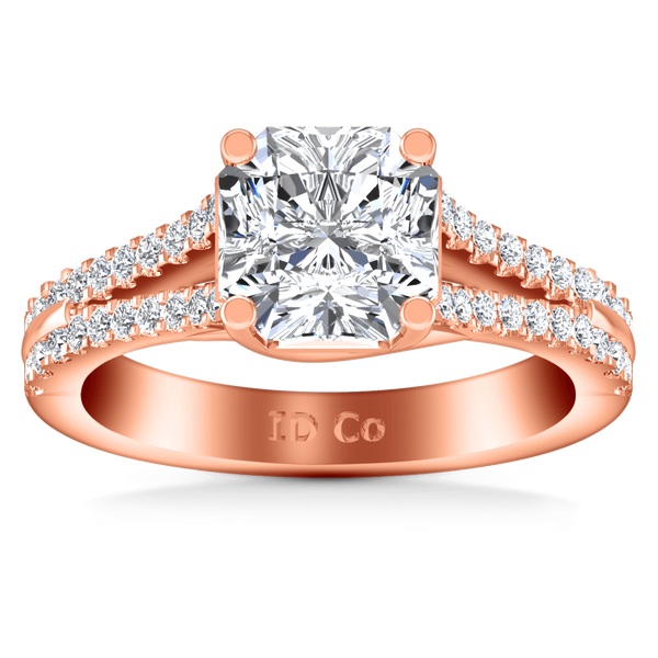 Pave Diamond Cushion Cut Engagement Ring Dahlia 14K Rose Gold
