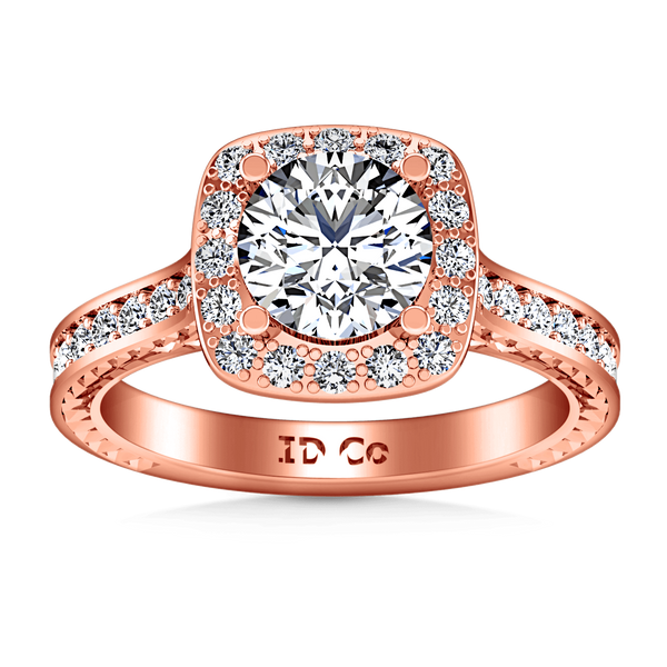 Halo Diamond Engagement Ring Heather 14K Rose Gold