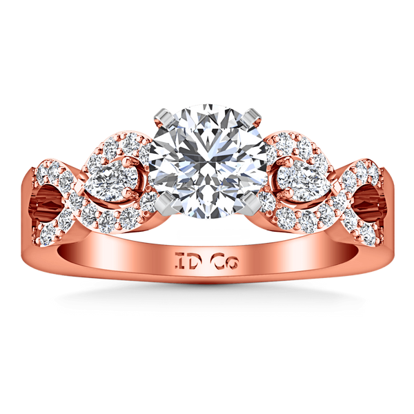 Pave Diamond Engagement Ring Chloe 14K Rose Gold