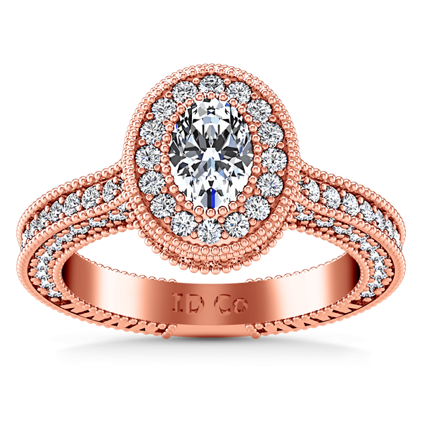 Halo Diamond Oval Engagement Ring Hannah 14K Rose Gold