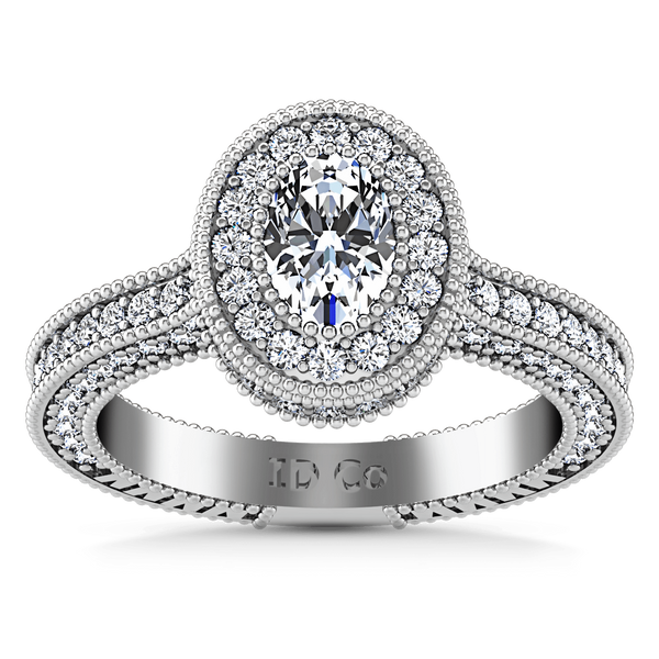 Halo Oval Diamond Engagement Ring Hannah 14K White Gold