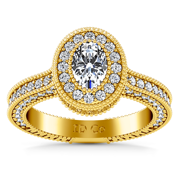 Halo Diamond Oval Engagement Ring Hannah 14K Yellow Gold