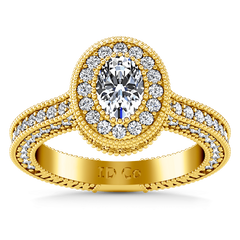 Halo Diamond Oval Engagement Ring Hannah 14K Yellow Gold engagement rings imaginediamonds