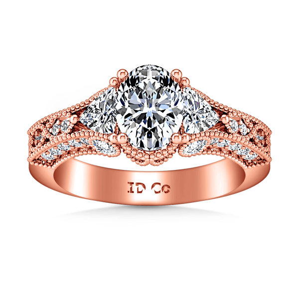 Pave Diamond Engagement Ring Heritage 14K Rose Gold