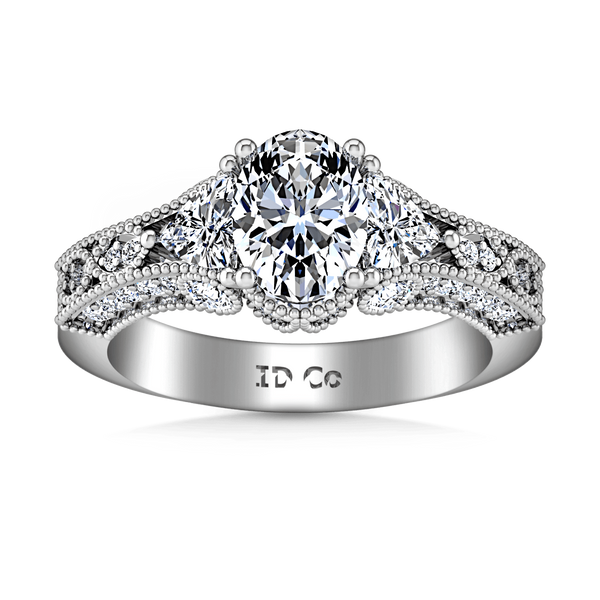Pave Oval Diamond Engagement Ring Heritage 14K White Gold