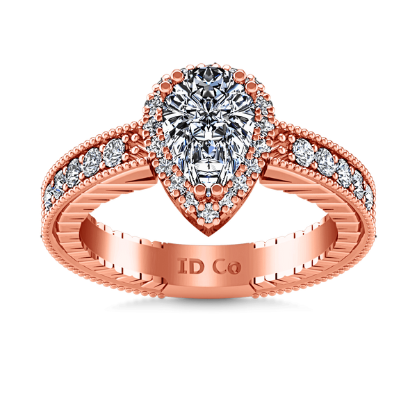 Halo Diamond  Engagement Ring Candence  14K Rose Gold