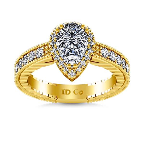 Halo Diamond  Engagement Ring Candence  14K Yellow Gold