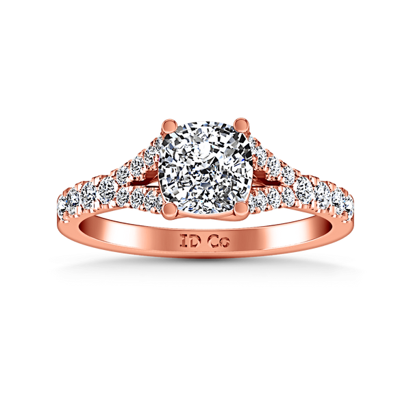 Pave Diamond Cushion Cut Engagement Ring Riverton 14K Rose Gold
