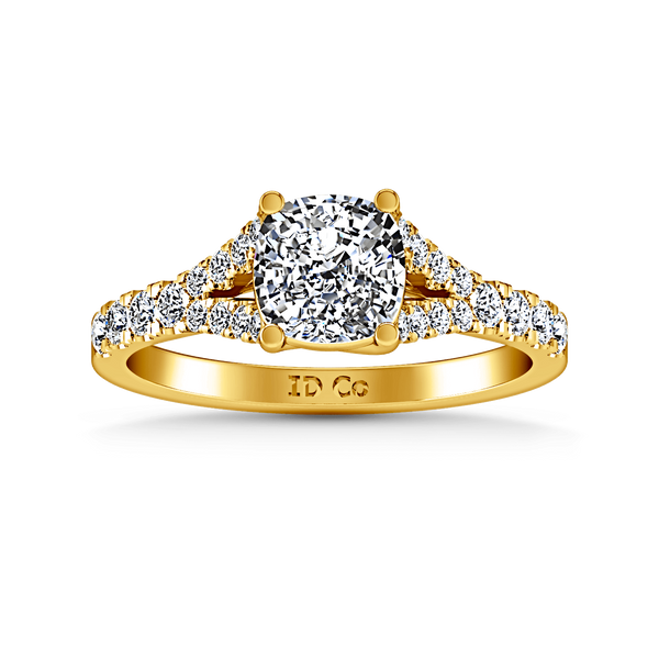 Pave Cushion Cut Engagement Ring Riverton 14K Yellow Gold