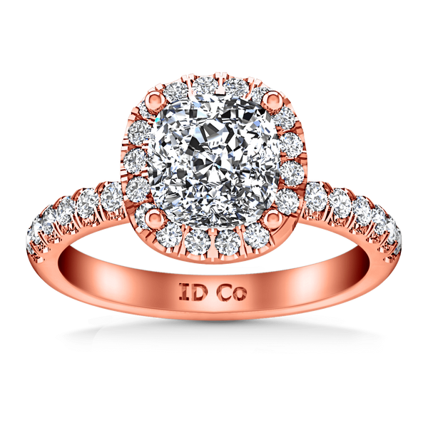 Halo Diamond Cushion Cut Engagement Ring Jessica 14K Rose Gold