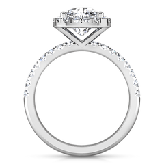 Halo Cushion Cut Diamond Engagement Ring Jessica 14K White Gold engagement rings imaginediamonds