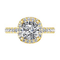 Halo Diamond Cushion Cut Engagement Ring Jessica 14K Yellow Gold engagement rings imaginediamonds