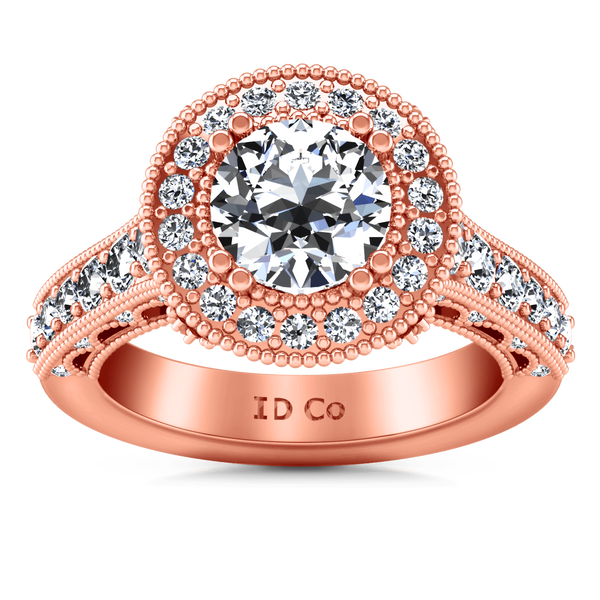 Halo Diamond Engagement Ring Angeline 14K Rose Gold