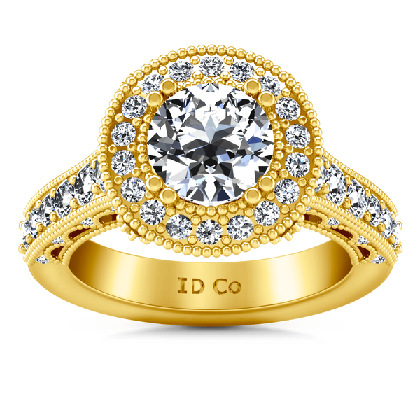 Halo Diamond Engagement Ring Angeline 14K Yellow Gold