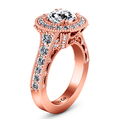 Halo Diamond Engagement Ring Angeline 14K Rose Gold engagement rings imaginediamonds