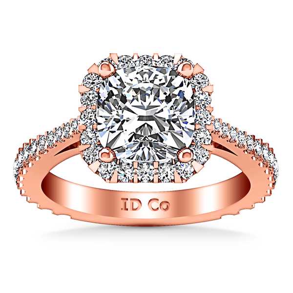 Halo Diamond Cushion Cut Engagement Ring Adalyn 14K Rose Gold