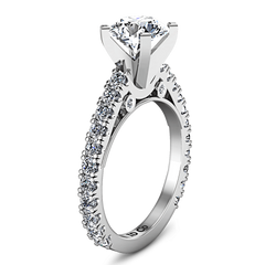 Round Diamond Pave Engagement Ring Eden 14K White Gold engagement rings imaginediamonds