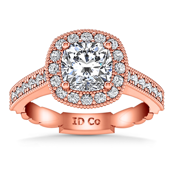 Halo Diamond Cushion Cut Engagement Ring Geneve 14K Rose Gold