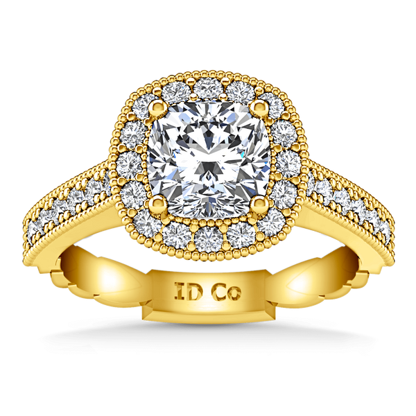 Halo Diamond Cushion Cut Engagement Ring Geneve 14K Yellow Gold