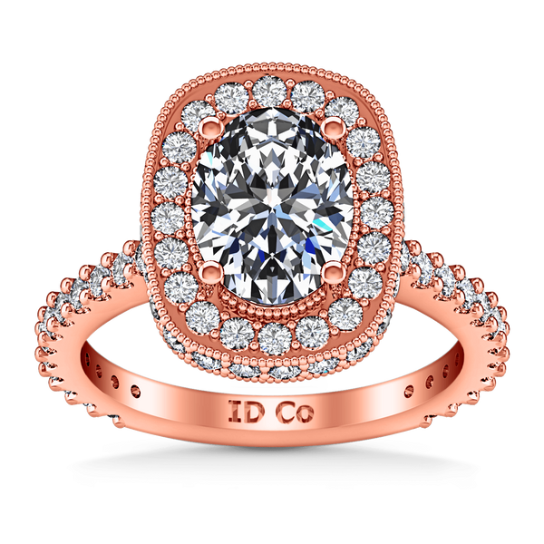 Halo Diamond Oval Engagement Ring Camille 14K Rose Gold