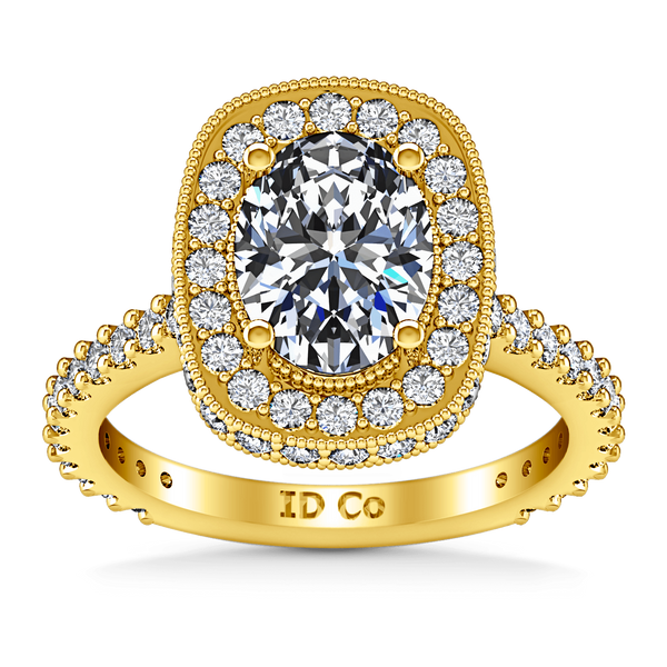 Halo Diamond Oval Engagement Ring Camille 14K Yellow Gold